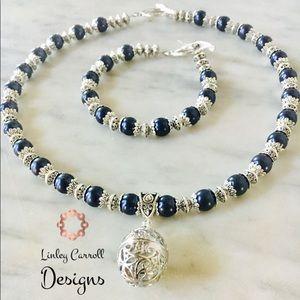 Jewelry - Midnight Blue Swarovski Pearl Necklace/Bracelet